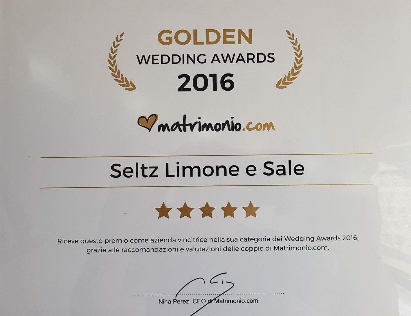 I Seltz vincono il Golden Wedding Awards 2016